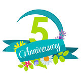 Cute Nature Flower Template 5 Years Anniversary Sign Vector Illu