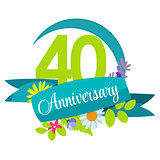 Cute Nature Flower Template 40 Years Anniversary Sign Vector Ill