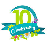 Cute Nature Flower Template 10 Years Anniversary Sign Vector Ill
