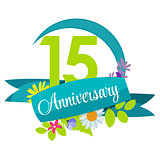 Cute Nature Flower Template 15 Years Anniversary Sign Vector Ill