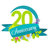Cute Nature Flower Template 20 Years Anniversary Sign Vector Ill