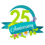 Cute Nature Flower Template 25 Years Anniversary Sign Vector Ill