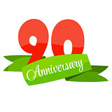 Cute Template 90 Years Anniversary Sign Vector Illustration
