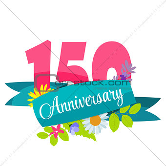 Cute Template 150 Years Anniversary Sign Vector Illustration