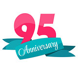 Cute Template 95 Years Anniversary Sign Vector Illustration