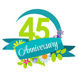 Cute Nature Flower Template 45 Years Anniversary Sign Vector Ill