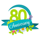 Cute Nature Flower Template 80 Years Anniversary Sign Vector Ill
