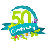 Cute Nature Flower Template 50 Years Anniversary Sign Vector Ill