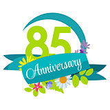 Cute Nature Flower Template 85 Years Anniversary Sign Vector Ill