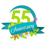 Cute Nature Flower Template 55 Years Anniversary Sign Vector Ill