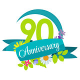 Cute Nature Flower Template 90 Years Anniversary Sign Vector Ill
