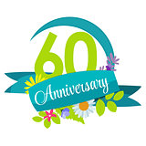 Cute Nature Flower Template 60 Years Anniversary Sign Vector Ill