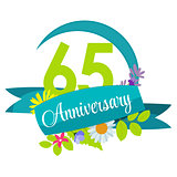 Cute Nature Flower Template 65 Years Anniversary Sign Vector Ill