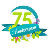 Cute Nature Flower Template 75 Years Anniversary Sign Vector Ill