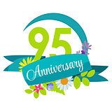 Cute Nature Flower Template 95 Years Anniversary Sign Vector Ill