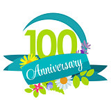 Cute Nature Flower Template 100 Years Anniversary Sign Vector