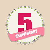 Cute Template 5 Years Anniversary Sign Vector Illustration