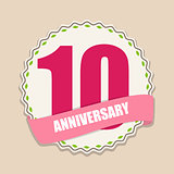 Cute Template 10 Years Anniversary Sign Vector Illustration