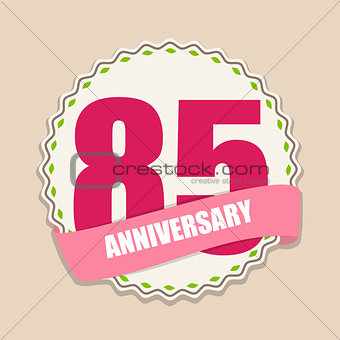 Cute Template 85 Years Anniversary Sign Vector Illustration