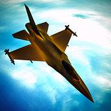 Fighter jet flying against a blue sky, 3d illustration