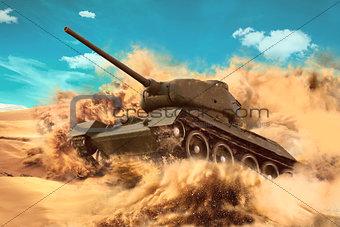 Battle Tank is moving in the desert