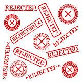Stamps rejected, vector illustration.