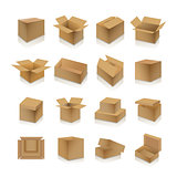 Set of cardboard boxes, vector illustration.
