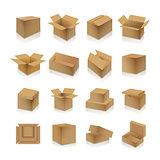 Set of cardboard boxes, vector illustration.