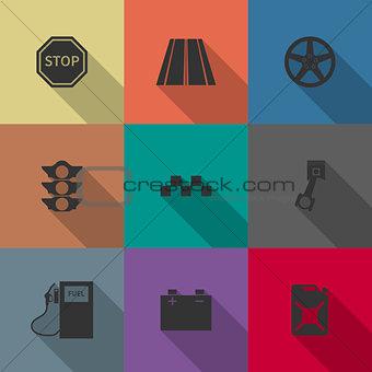 Auto icons, vector illustration.