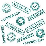 A set of stamps approved, vector illustration.
