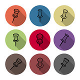 Set of icons pushpins, vector illustration.