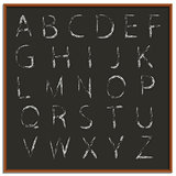Chalk hand drawing alphabet, vector illustration.