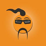 Funny face with a mustache, vector illustration.
