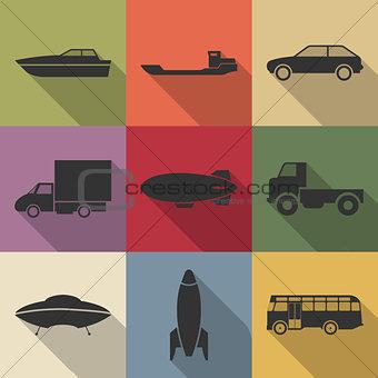 Transport icons, vector illustration.