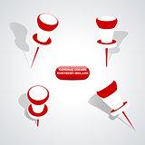 Set of pushpins, vector illustration.