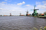 Traditional Dutch windmills at Zaanse Schans closed to Amsterdam