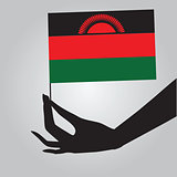 Hand with flag Malawi