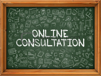 Green Chalkboard with Hand Drawn Online Consultation.