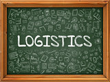Logistics - Hand Drawn on Green Chalkboard.