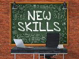 New Skills - Hand Drawn on Green Chalkboard.