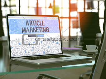 Article Marketing - Concept on Laptop Screen.