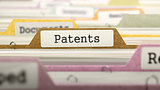 File Folder Labeled as Patents.