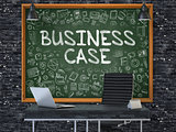 Business Case Concept. Doodle Icons on Chalkboard.