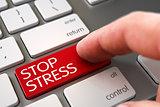 Stop Stress on Keyboard Key Concept.