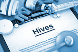 Hives Diagnosis. Medical Concept.