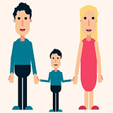 Happy family color vector, love, friendship, boy, man, woman
