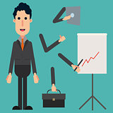 happy businessman with a set of arms, tablet, graph and portfolio