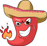 vector sharp chili pepper in a sombrero