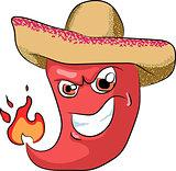 vector sharp chili pepper in a sombrero