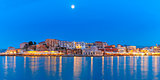 Panorama of night Venetian quay, Chania, Crete